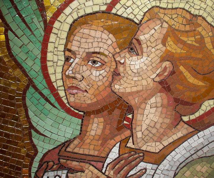 mosaics created by Facchina, detail of angels